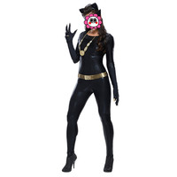 Abbille Jumpsuits Women Sexy Black Faux Leather PU Bodysuit Fantasia Halloween Cat Cosplay Costume Fetish Catwoman