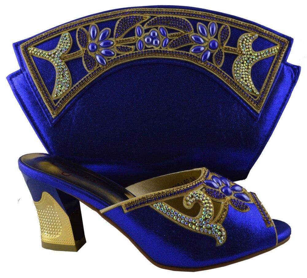 Violet Et Ensemble Nigérian vert Italiennes jaune rouge Royal Décoré En La Pour Blue Afircna Avec Fête Dames Femmes Chaussure Chaussures Strass Couleur pourpre Sac rqwIYr