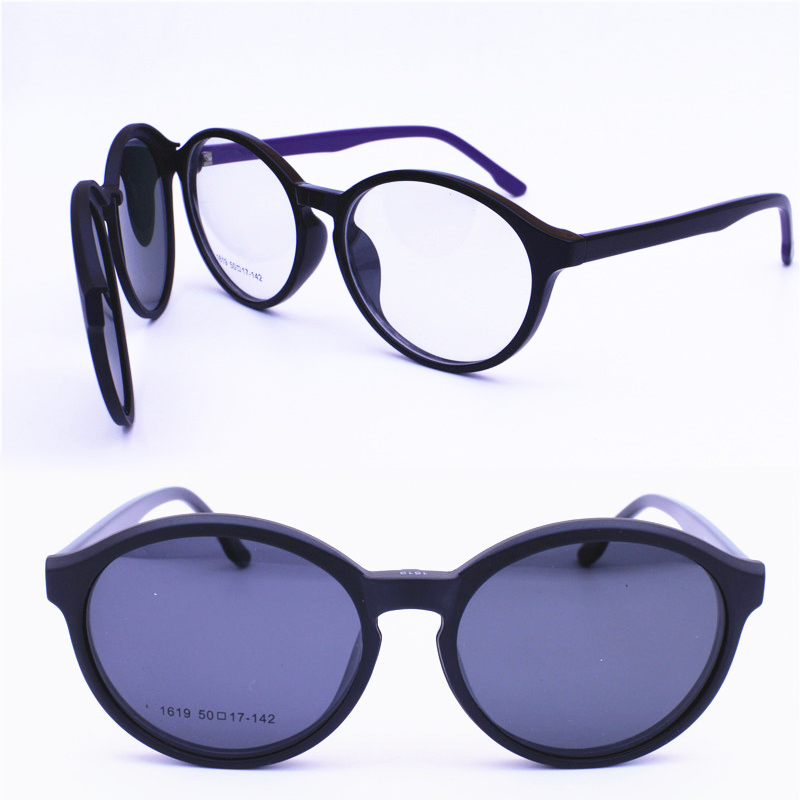 86ed98320799 Detail Feedback Questions about 1619 oval shape acetate combined TR90  prescription glasses with megnatic clip on removable polarized sunglasses  lenses for ...