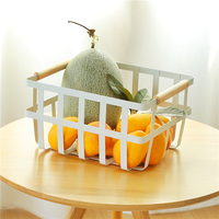 Nordic white wrought iron desktop storage basket bath washing portable storage basket snacks fruit finishing basket mx01250940
