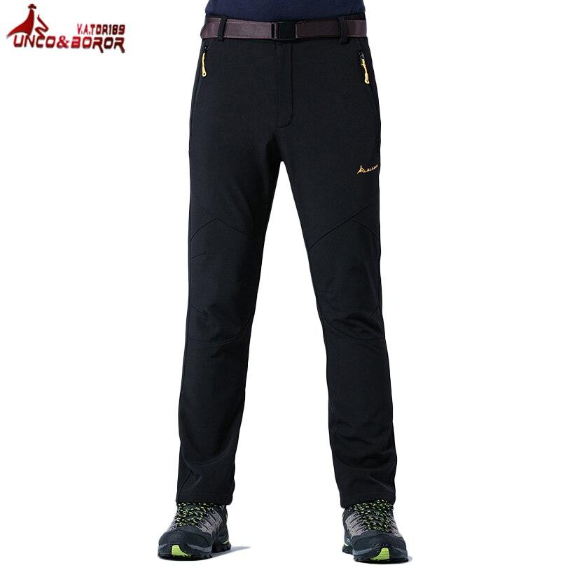Pantalon de Ski Softshell polaire homme UNCO BOROR hiver chaud épais pantalon de sport de plein air imperméable Camping randonnée pantalon Plues taille