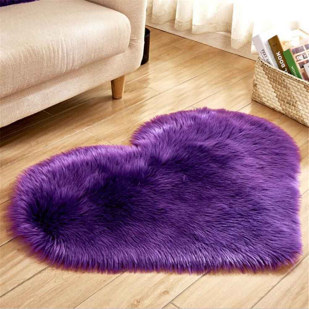 WINLIFE Heart-shaped Solid Wool Imitation Sheepskin Rugs Non Slip Living Room Shaggy Carpet Bedroom Mats