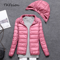 Women Autumn Jacket with Detachable Hat Fashion Navy Pink Colors 2018 Ladies Duck Down Outwear Thin Style 3XL Female Slim Coats