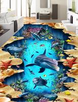 Wall paper Decor For Home 3d Flooring dolphin Large paper Wall Living room Bedroom Home improvement 3d Floor Painting
