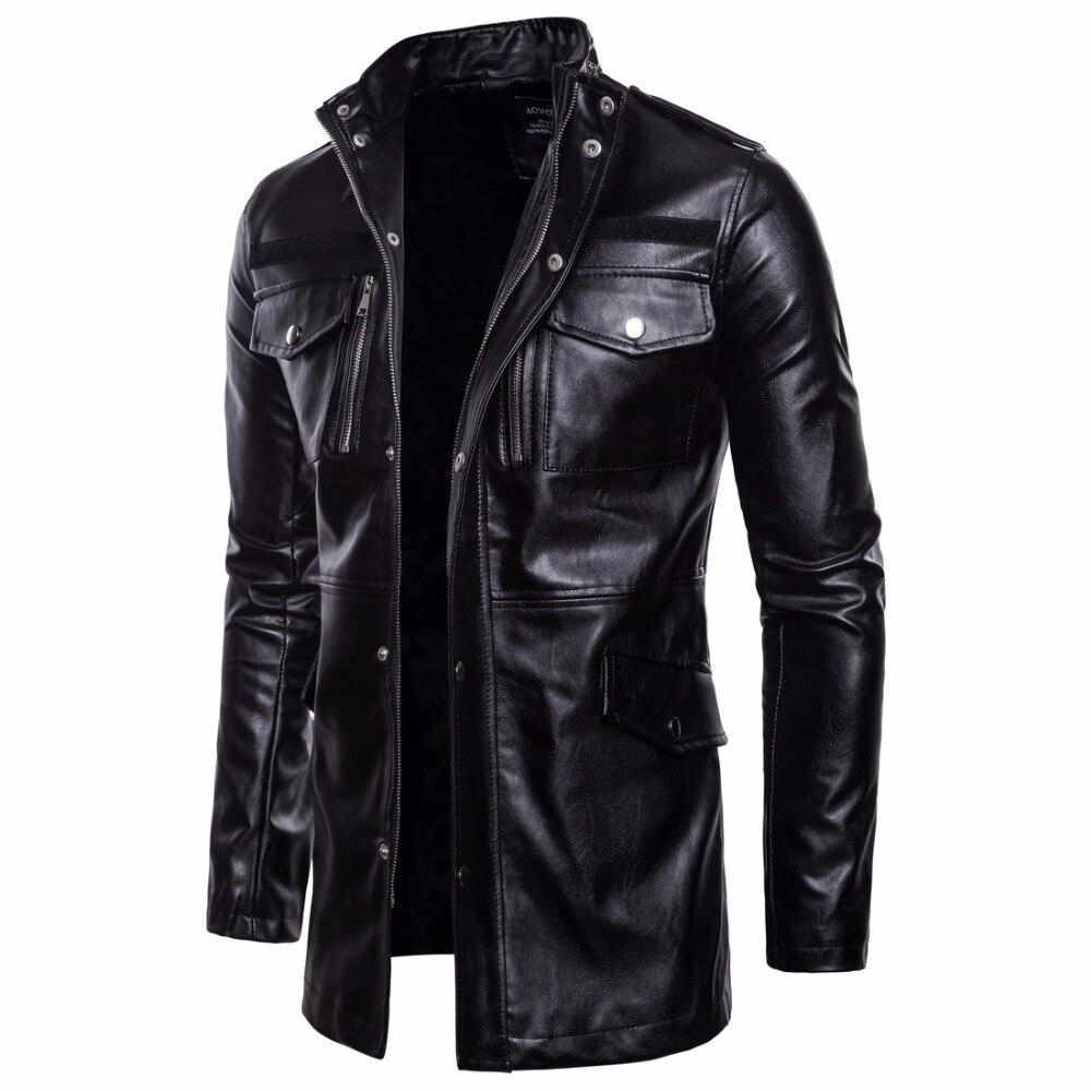 Men's Mid Long Leather Jacket Spring Autumn Leather Coat Men Motorcycle Biker Leather Jackets Coats Windbreaker Black Outwear