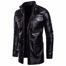 Men's Mid Long Leather Jacket Men Spring Autumn Motorcycle Biker Leather