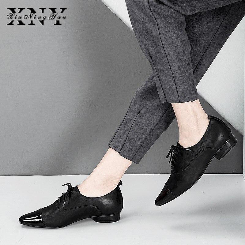 XIUNINGYAN femmes appartements en cuir véritable Oxford chaussures femme appartements Brogues Vintage à la main mocassins à lacets chaussures décontractées pour les femmes
