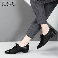 XIUNINGYAN Women Flats Genuine Leather Oxford Shoes Woman Flats Brogues Vintage Handmade Lace Up Loafers Casual Shoes for Women
