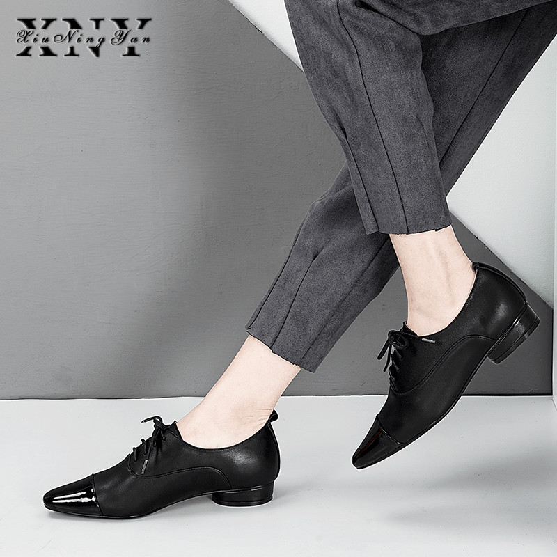 XIUNINGYAN mujeres pisos de cuero genuino Oxford zapatos mujer pisos Brogues Vintage hecho a mano cordones mocasines zapatos casuales para mujer-in Zapatos planos de mujer from zapatos    1