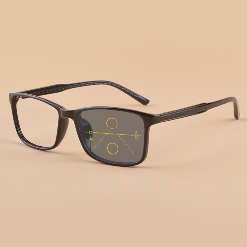 ad44a649268 Mincl Retro ultra light TR90 progressive reading glasses photochromic  square multi-focus reading glasses