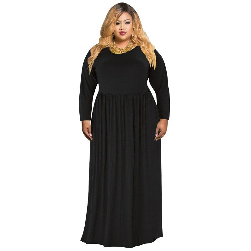 05c46c5feeea Women Swing Pleated Dress Vintage Autumn Winter Long Sleeve Maxi Dress Plus  Size 3XL 4XL Office Comfortable Elegant Tunic Robes