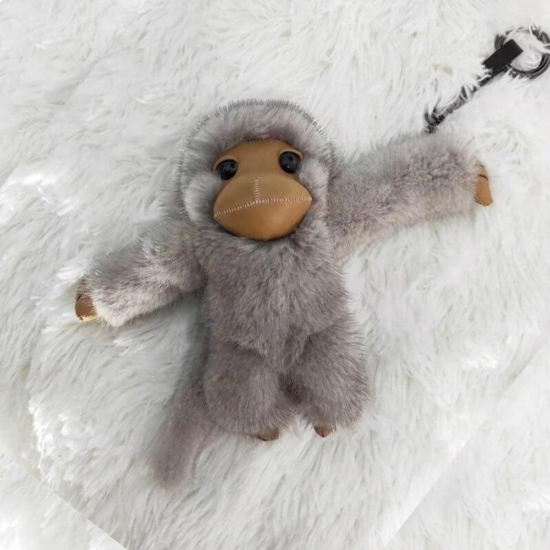 2019 nouveau style chaud long-armé singe réel vison fourrure singe enfants jouet voiture porte-clés sac pendentif accessoires de fourrure - 2
