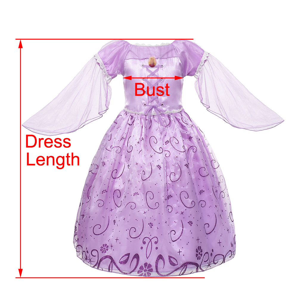 e009b6e3c5913 wholesale Girls Rapunzel Dress up Clothes Flying Sleeve Floral Print  Tangled Princess Costume Kids Halloween Party Cosplay