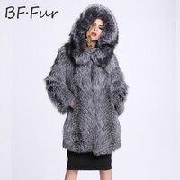 New Bất Silver Fox Fur Coat Phụ Nữ Inverno Nữ Giacca Personalizza Genuini intero Pelle Argento Pelliccia di Volpe Cappotti