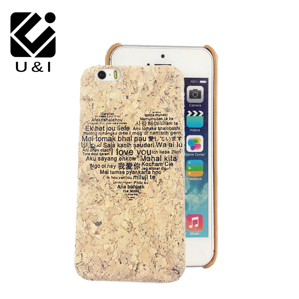 Laser Engrave Natural Cork Wood Case Cover Cell Phone Capa Blank Wooden Coque For iPhone 6 6S 6PLUS 6SPLUS 7 7PLUS Giraffe Heart