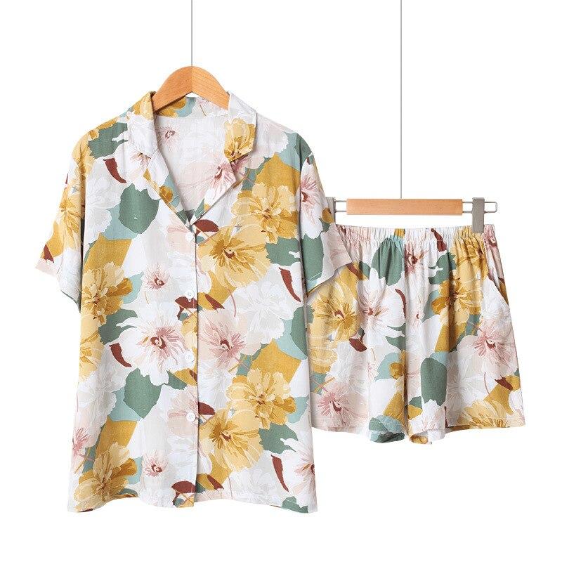 Summer Cotton Short Sleeve Pajamas For Women Turn-down Collar Sleepwear Floral Printing Pijama Mujer Shorts Home Clothes Pj Set