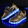 2016 НОВЫЙ Hotsale дети кроссовки USB зарядки дети СВЕТОДИОДНЫЕ светящиеся обувь мальчики девочки красочные мигающие огни кроссовки