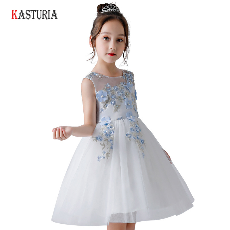 2018 Luxury kids dresses for girls summer dress sleeveless flowers dress children unicorn party costume 7 year girls clothes hayden children party dress girls summer sundress costume 7 8 9 10 year teen girls clothing children clothes kids frocks designs