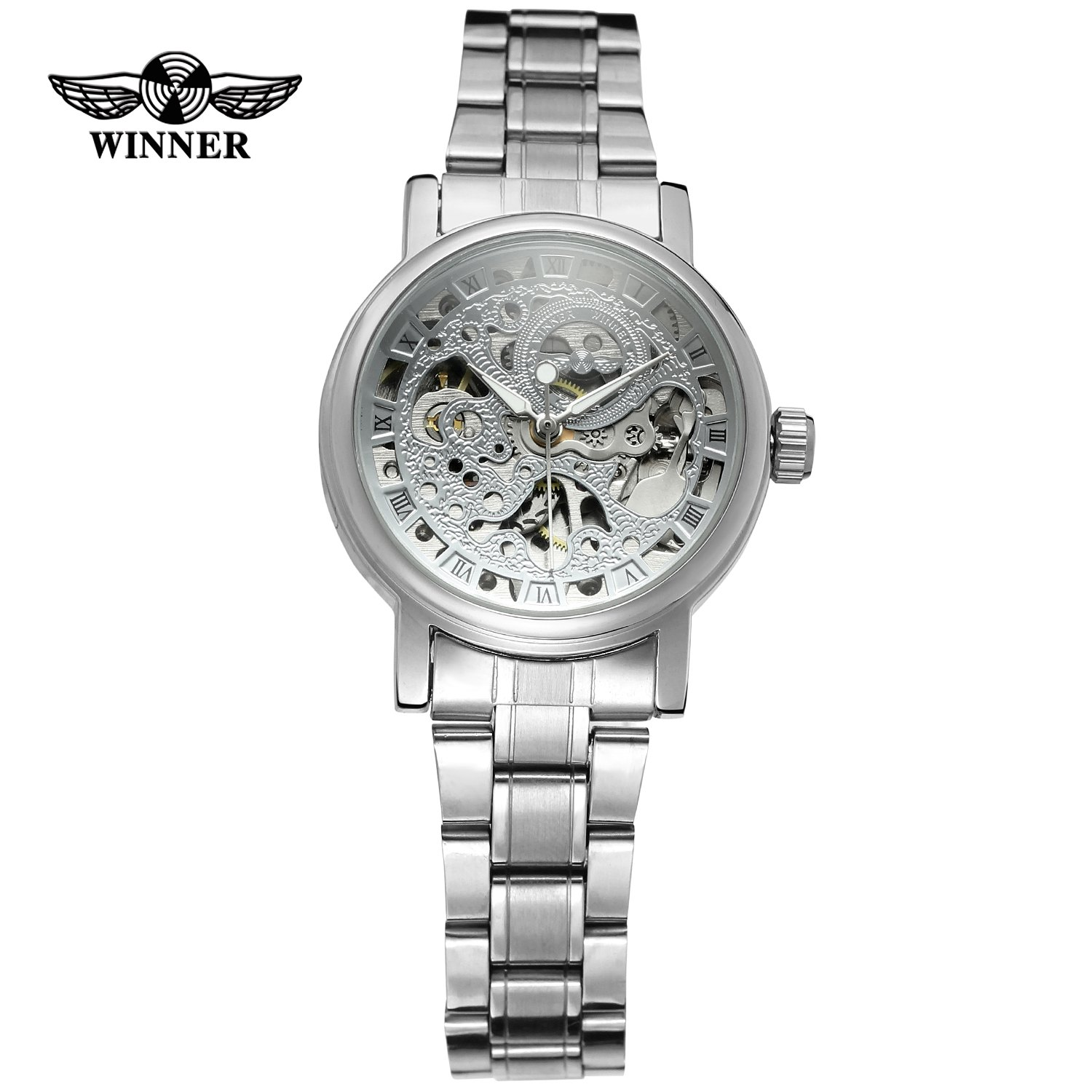 WINNER Ladies Classic Automatiska Mekaniska Klocka Själv Vind Carving Skelett Roman Index Dial Full Steel Women Armbandsur