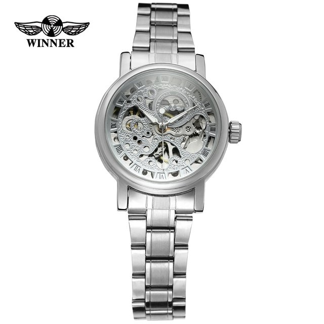 WINNER Ladies Classic Automatic Mechanical Watch Self Wind Carving Skeleton Roman Index Dial Full Steel Women Wrist Watches