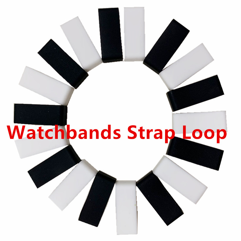 Black White Silicone Rubber Replacement Resin Watch Strap Band Keeper Holder Retainer Loop Size 12 -30mm 4pcs