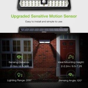 Image 2 - 2 Pcs Mpow 42 LED Motion Sensor Solar Light Wall Lamp 3 Adjustable Sensor Lighting Time Weatherproof Luz Solar Led Para Exterior