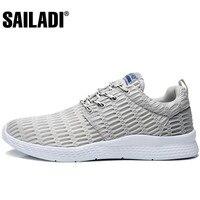 Sailadi Men S Sport Running Shoes Gray Blue Black Breathable Mesh Sport Shoes Outdoor Training Jogging