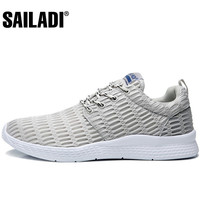 Sailadi Men S Sport Running Shoes Gray Blue Black Breathable Mesh Sport Shoes Outdoor Training Jogging