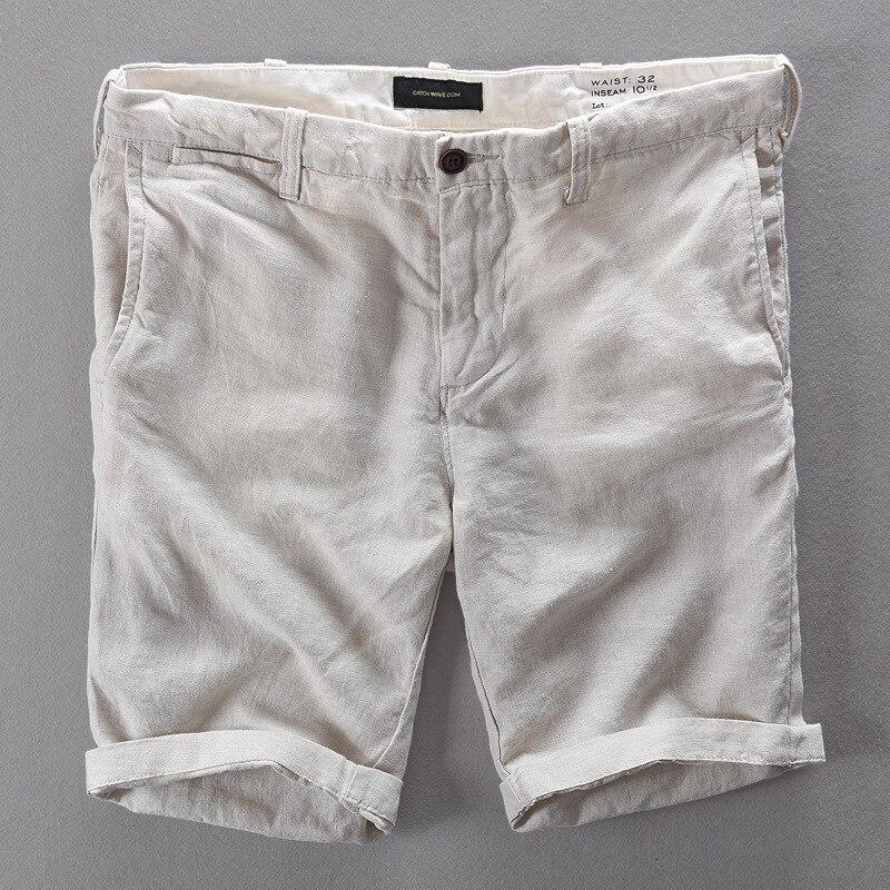 2017 New Brand Shorts Men Linen Short Pants Mens Casual Apricot Solid Men Shorts Fashion Loose Short Trousers Men Bermuda 29-38