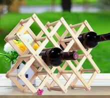 1PC 5 Size Umiwe Creative Wine Holder Home Bar Beer Wine Stand Foldable 10 Bottle Wooden Wine Rack Organizer Display Shelf J2043