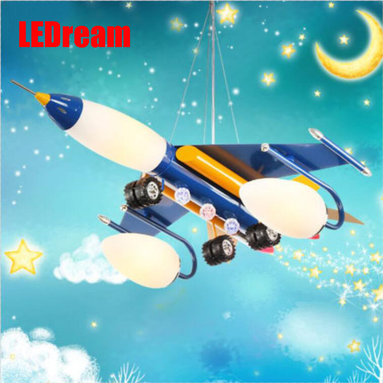 Creative cartoon baby cute LED  act the role ofing boy room bedroom chandeliers children room roof plane light absorption wrought iron chandelier aircraft lamp boy children master bedroom room led chandeliers creative cartoon