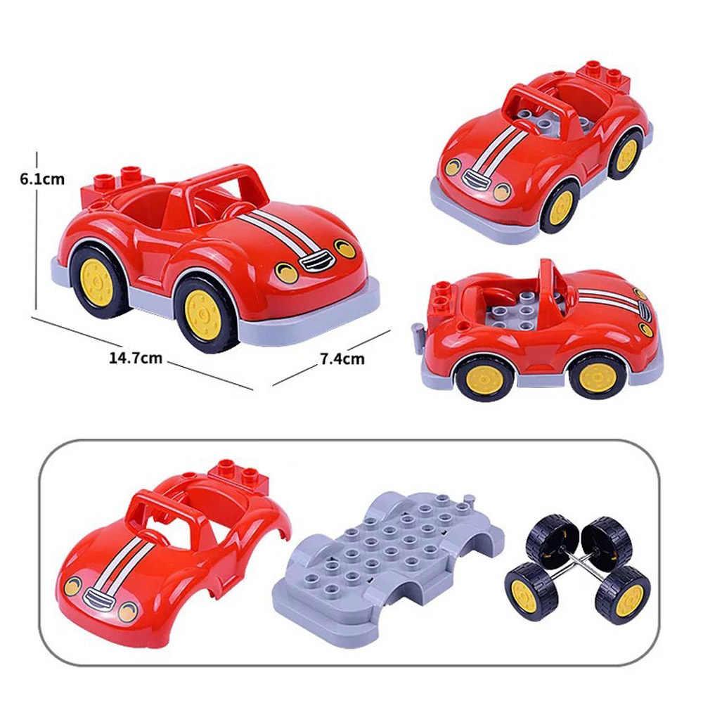 Trailer Mobil Sepeda Motor Kapal Ukuran Besar Blok Bangunan Batu Bata Kolokasi Kota Kendaraan Aksesori Set Kompatibel Legoing Duplo Mainan