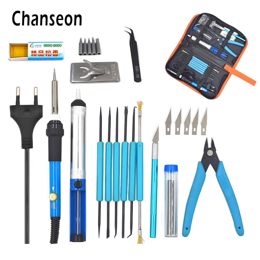 Eu Plug 220v/110v 60w Adjustable Temperature Electric Soldering Iron Kit+5pcs Tips Portable Welding Repair Tool Tweezers Knife adjustable temperature soldering iron 60w switch welding station tool kit with soldering tips