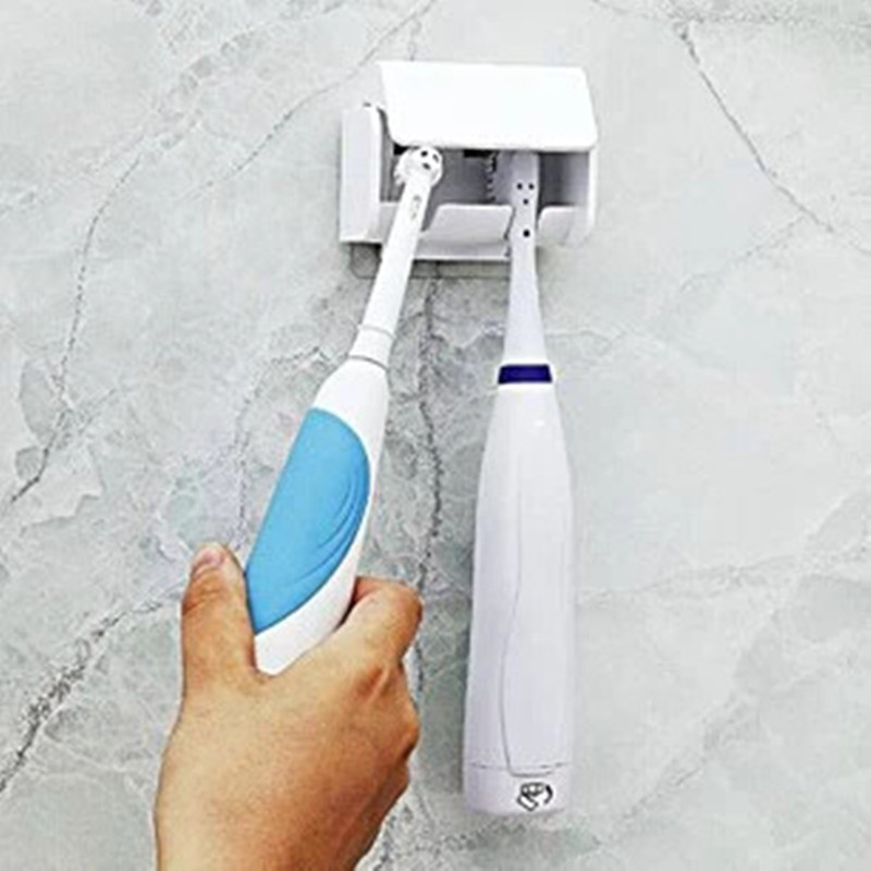 Wall Mount Anti-Dust 2-Head Electric Toothbrush Holder Sucker Holder Suction Hooks Cup Bathroom Organizer Storage Rack Plastic image