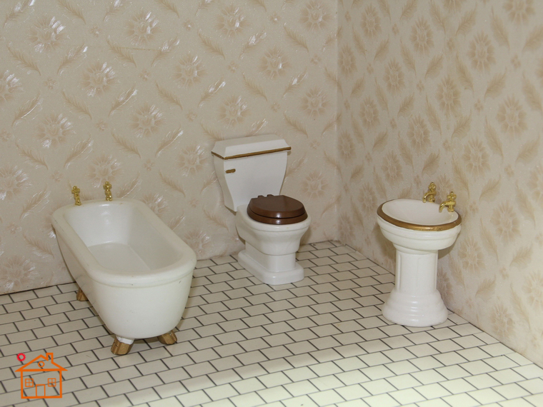 1 12 Scale Miniature Doll House Dollhouse Bathroom Furniture Sets Bathtub Closestool Washstand 3pcs In Toys From Hobbies On