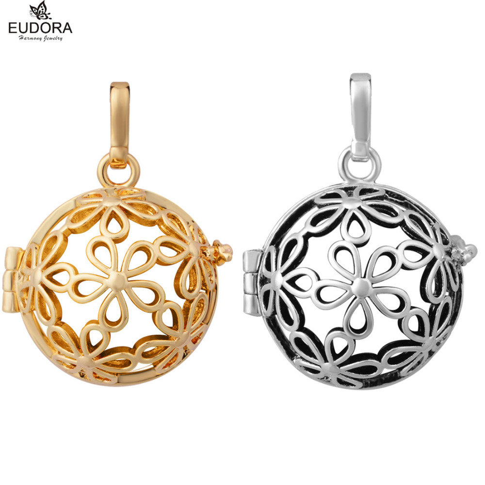 Lovely Flower Pregnancy Chime Locket Cage Pendant Fashion Copper 20mm Eudora Harmony Ball Cages fit Mexcian Bola Jewerly