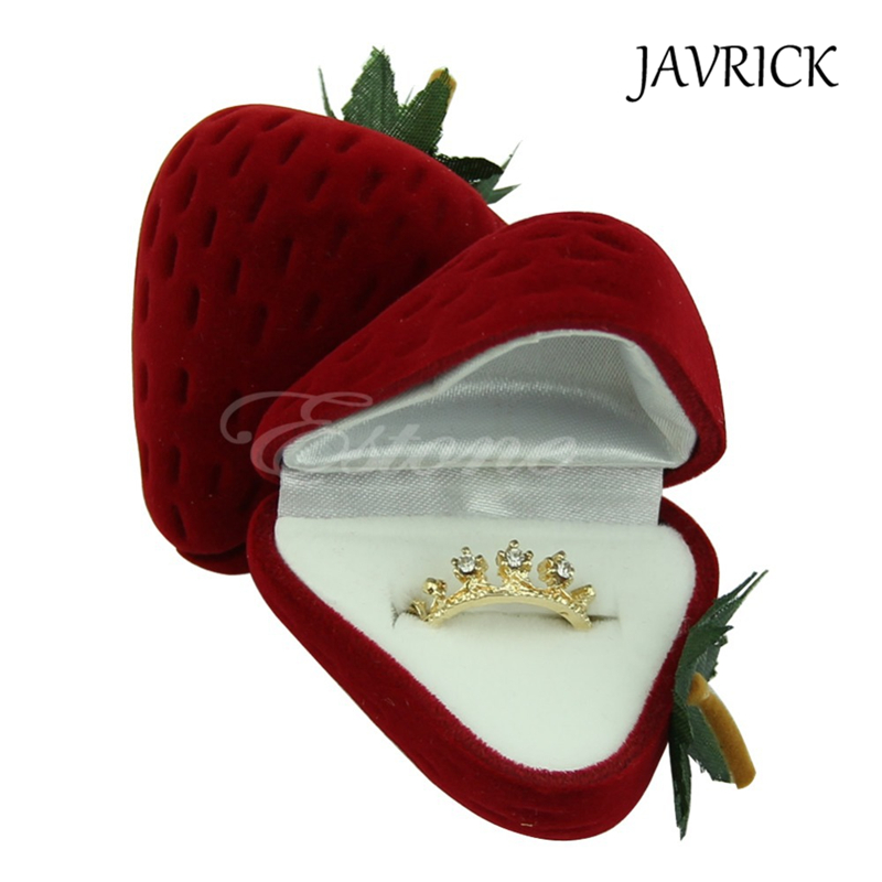 Jewelry Box Cute Strawberry Flocking Ring Jewelry Case Earring Ear Stud Case Gift Contai ...