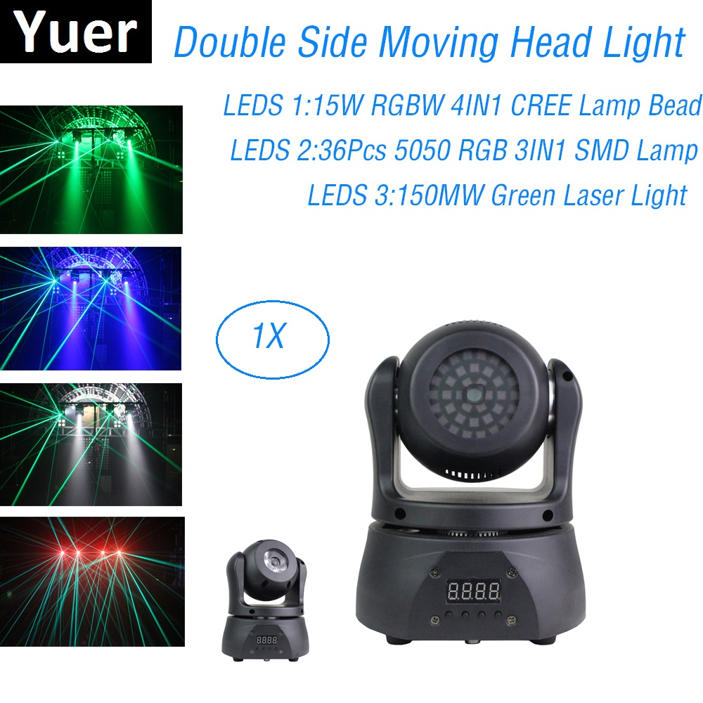 LED Wash Strobe Laser 3IN1 Moving Head Light Double Side Moving Head Lighting DMX 512 Controller Stage Effect For Party Dj Disco