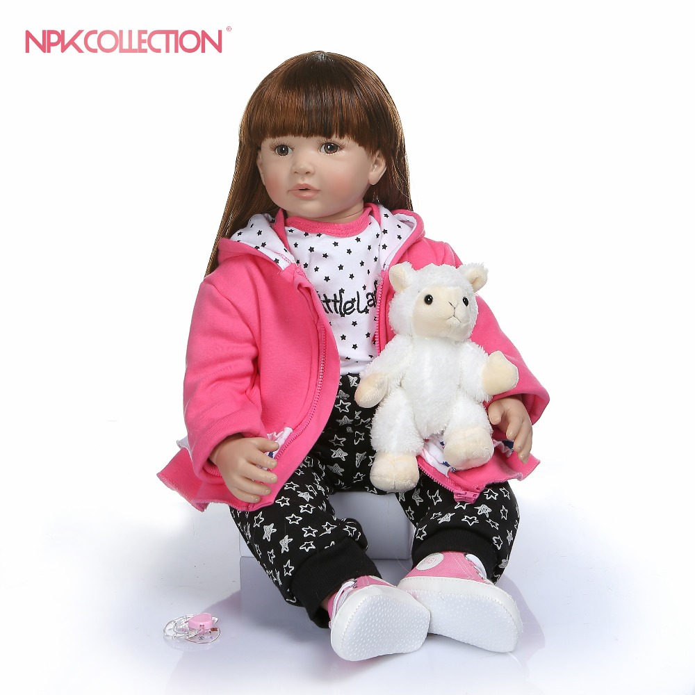 60CM high quality soft silicone reborn toddler girl doll in hoodie dress bebe doll reborn  long hair doll 6-9M real baby size60CM high quality soft silicone reborn toddler girl doll in hoodie dress bebe doll reborn  long hair doll 6-9M real baby size