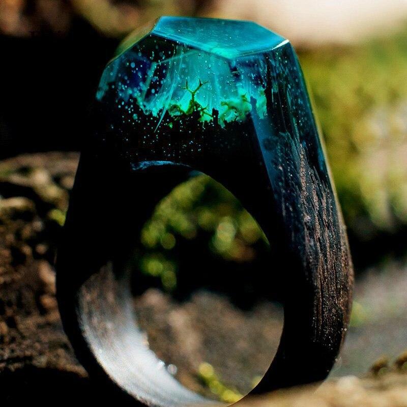 Elitven Wood Resin Rings Engagement Wedding Rings For