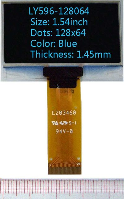 1.54 inch 128x64 Blue 1.45mm(thickness) oled display oled