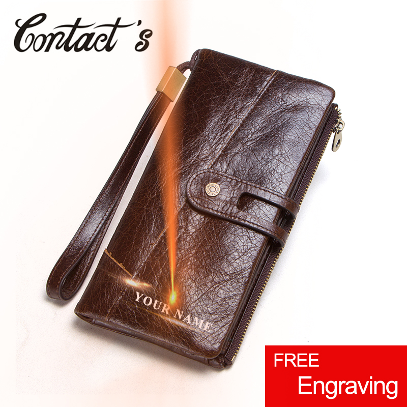 Contact's Genuine Leather Men Wallets Male Long Clutch with Coin Purse Pocket Casual Card Holder Handy Perse Phone Wallet Case