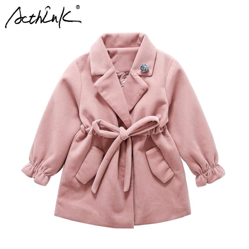 ActhInK Girls Winter Woolen   Trench   Coat New 2018 Girls Thermal Soft Wind Coat Girls Flare Sleeve Warm Woolen Coat Girls Blazers