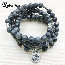 Ruberthen 2017 Top Design Labradorite Wrap Bracelet Trendy Handmade Men`s 108 Mala Yoga Bracelet or Necklace Ohm Buddha Bracelet