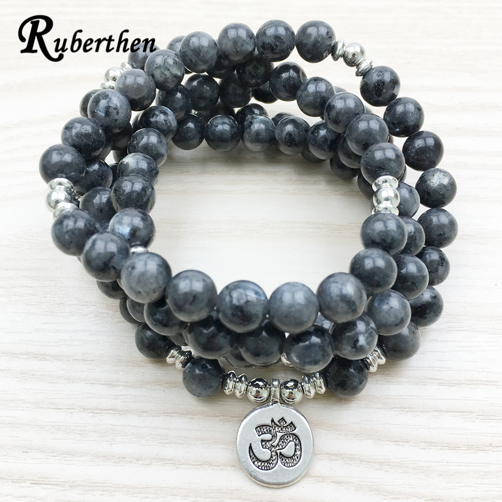 Ruberthen 2018 Top Design Labradorite Wrap Bracelet Trendy Handmade Men`s 108 Mala Yoga Bracelet or Necklace Ohm Charm Bracelet