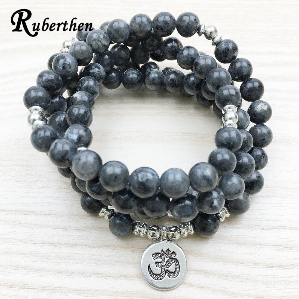 Ruberthen 2018 diseño labradorita pulsera de moda de los hombres hechos a mano 108 Mala Yoga pulsera o collar Ohm pulsera de encanto