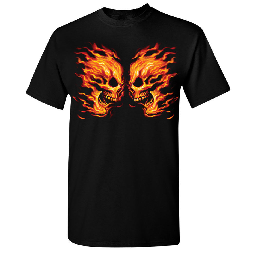 Great Discount Cotton Tee 100% Cotton Crew Neck Twin Burning Skulls Flame Biker Short-Sleeve Tee For Men
