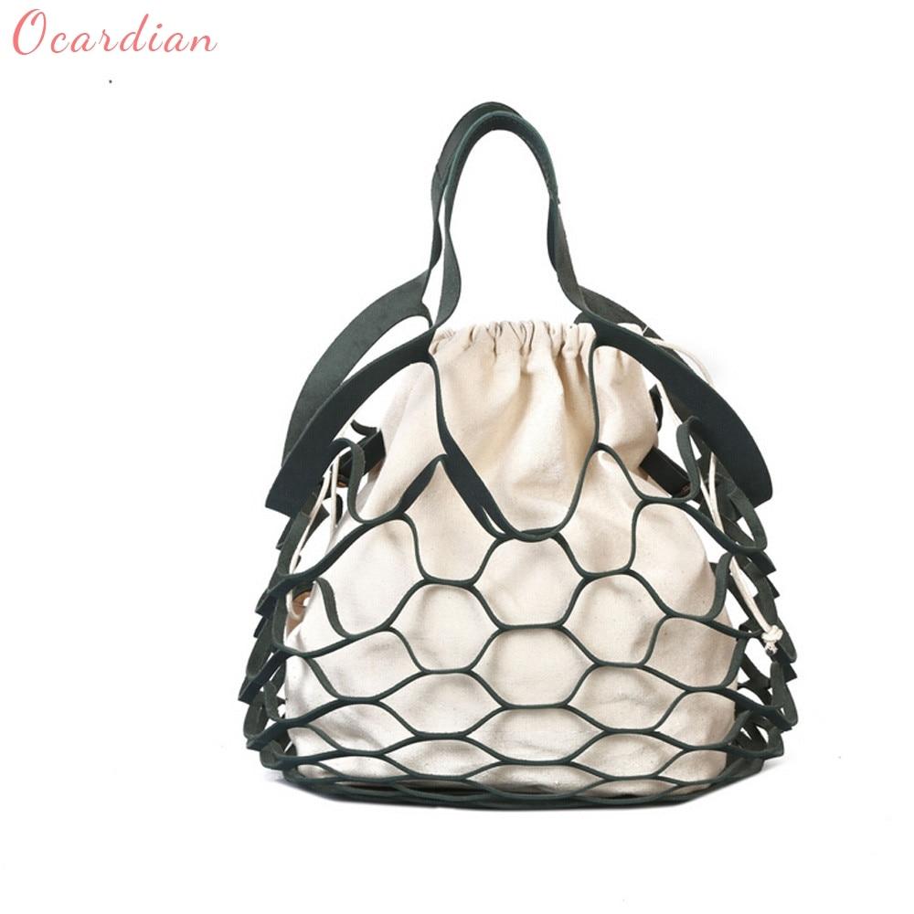 Ocardian 2017 Fashion Women Hollow Handed Netbath Bucket Bag Casual Tote Bag Big Shoulder Bags Dropship 170911