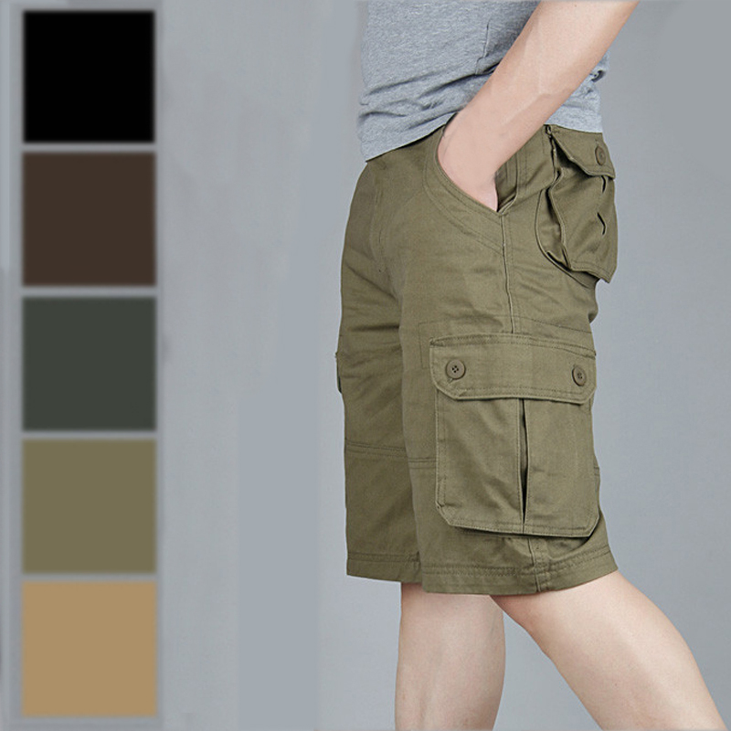 100% Cotton Cheap Durable Multi Pocket Army Bermuda Military Cargo Shorts Men Plus Size 42 44 46 Khaki Black Brown Olive Green