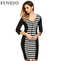 FINEJO Spring Fashion Women Casual V Neck 3 4 Sleeve Front Zipper Striped Patchwork Slim Dress